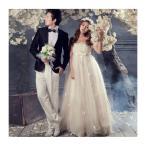 花嫁ドレス 編み上げタイプ 豪華な ウェディングドレス ロングドレス エンパイアライン ビスチェタイプ 刺繍 フリル 妊婦さんもOK 3714061206