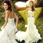 ウエディングドレス 編み上げタイプ お花嫁ドレス 刺繍フリル レディース 3714072501