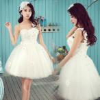 お姫系 ウェディングドレス 単肩 花柄付き パーティードレス ミニ丈 花嫁ドレス  レディース 3714072502
