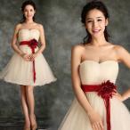 ウェディングドレス ミニ ドレス ベルト付き 花嫁ドレス シャンパン ミニ パーティードレス 3714080708