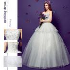 豪華な ロング ウェディングドレス 花嫁ドレス レース 刺繍 結婚式 披露宴 二次会 レディース 3700101206