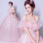 カラードレス 2点セット パニエ付き ウエディングドレス ロングドレス パーティードレス 姫系ドレス  結婚式 花嫁ドレス ドレス 二次会ドレス  162324