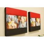 バリ絵画 モダンスタイルアート30×30 14 アートパネル バリ 絵画 壁掛け アート アジアン 雑貨 北欧 モダン 抽象画 ファブリックパネル