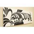 バリ絵画 ドットアート 120×45 Ab01 アートパネル モノトーン アジアン バリ 絵画 壁掛け アート 北欧 モダン インテリア ファブリックパネル