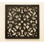 アートパネル オリエンタルアラベスク 40×40 チーク アートフレーム 木製 アジアン アートパネル バリ ファブリックパネル 壁掛け インテリア 北欧 レリーフ