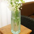 バリガラス フラワーベース クラック スクエア Lサイズ 花瓶 ガラス フラワーベース おしゃれ 大型 大きい シンプル アジアン 雑貨 バリ