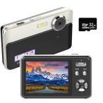 デジタルカメラ デジカメ コンパクトHD 1080P 30FPS 2400万画素 Micro SDカード32GB付き 連続ショット 3Xデジタルズーム