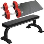 ダンベルトレーニング 4点セットB レッド 10kg フラットベンチ ラバーダンベル 10kg 2個セット 保護マット ウエイトトレーニング ホームジム