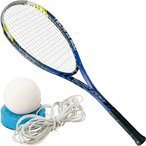 ミズノ(MIZUNO) 張り上げ済み ソフトテニスラケット テクニクス200 ブルー & テニストレーナー 00ZG 63JTN77527 軟式テニスラケット ケース付き