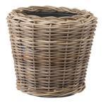 ラタンバスケット/籐かご 〔置き型 直径37cm〕 プラスチック内容器付き 『モンデリック』 〔園芸 ガーデニング用品〕