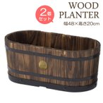 プランター 植木鉢 天然木 ウッドオーバルプランター M 2個セット 幅約480mm 木製 特許取得