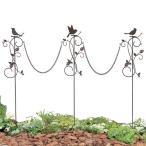 花壇 フェンス ガーデニング ミニフェンス チェーンピック 小鳥と葉っぱのオーナメント いちご3本セット