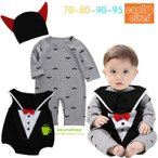 ハロウィン halloween衣装  ベビー用 ハロウィン ロンパース 長袖カバーオール 帽子 3点セット 赤ちゃん ベビー服 バンパイヤ
