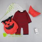 カボチャ ハロウィン halloween衣装  ベビー用 ハロウィン ロンパース 長袖カバーオール 帽子 3点セット 赤ちゃん ベビー服
