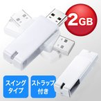 USBメモリ 2GB  USB2.0対応 名入れ対応 紛失防止 ストラップ付き キャップレス ホワイト EZ6-US2GW ネコポス対応