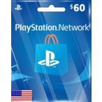 【メール通知】PlayStation Network Card $60 プレイステーション ネットワークカード 60ドル 北米ストア