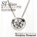 プラチナ900 pt900 一粒 ネックレス ペンダント ダイヤモンドネックレス ソリティア ダイヤ SIクラス 0.2ct レディース