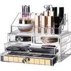 化粧品収納ボックス OBOR(オビオア) 化粧品収納ラック 透明化粧品ケース メイクボックス メイクケース コスメボックス 強い耐久性 整理
