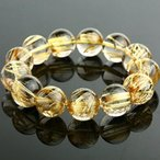 手鍊 - ブレスレット ペア レディースジュエリー Golden Rutilated Quartz Bracelet 17-17.8mm Round Beads 97g #U0014 正規輸入品