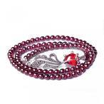 ショッピングGARNET ブレスレット ペア レディースジュエリー Jade Angel 4mm Round Genuine Garnet Beads Bracelet with 925 Silver Marcasite Goldfish Charm 20 inches