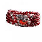 ショッピングGARNET ブレスレット ペア レディースジュエリー Jade Angel 5mm Round Genuine Garnet Beads Bracelet with 925 Silver Marcasite Horse Garnet Charm 24 inches