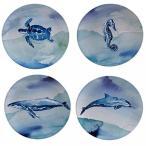 """サーティファイド インターナショナル キッチン クッキング 食器 Certified International Sea Life Dessert Plate (Set of 4), 9"""", Multicolor 正規輸入品"""