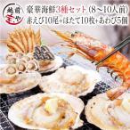 海鮮バーベキュー 海鮮セット 3種 生 赤えび 10尾 ほたて 10枚 あわび 5枚 セット (8〜10人前)  ギフト 海鮮鍋  海鮮丼 おせち バーベキュー BBQ *冷凍*