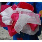 ショッピング兵児帯 お子様二重合せ兵児帯 ピンク 子供浴衣帯 兵児帯とオーガンジー飾り帯が合体 ゆかた帯