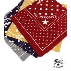 イルビゾンテ IL BISONTE コットン ロゴ ドット スカーフ バンダナ・5442409298-0061801 メール便可能1 1F-W