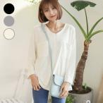 授乳服 安い トップス 長袖 胸ポケット Tシャツ 【メール便可】