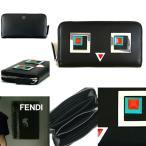 人気モデル FENDI フェンディ 長財布 8M0299 SL6 F0X93 SQUARE EYES スクエアアイズ レザー 革 黒 ブラック 2017 SS