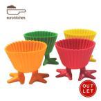 アウトレット ユーロキッチン eurokitchen 足付きシリコンひよこマフィンカップ イエロー、ピンク、グリーン、オレンジ各一個セット V