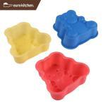 ユーロキッチン eurokitchen シリコンモールドミニ テディーベア 3点セット  赤、青、黄各1色入  ケーキ型