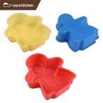 ユーロキッチン eurokitchen シリコンモールドミニ ガール 3点セット 赤、青、黄各1色入  ケーキ型
