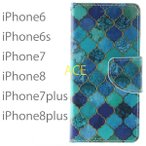 iPhone8 iPhone7 iPhone8plus iPhone7plus iPhone6 iPhone6s ケース アイホン8プラス アイフォン7 手帳型 カバー 送料無料 レザー 革 モロッコタイル柄 青