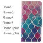 iPhone8 iPhone7 iPhone8plus iPhone7plus iPhone6 iPhone6s ケース アイホン8プラス アイフォン7 手帳型 カバー 送料無料 レザー 革 モロッコタイル柄 赤