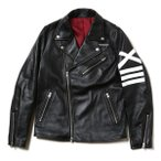 RADIO EVA 634 EVANGELION XIII Leather Riders Jacketブラック