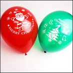 クリスマス装飾丸ゴム風船 サンタとツリーバルーン28cm 12個 【バルーン・ディスプレイ・飾り】