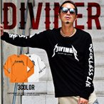 ロンT 長袖Tシャツ 袖プリント 袖長 カットソー 大きいサイズ ストリート ロック オレンジ DIVINER ディバイナー ブランド