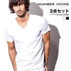 Tシャツ メンズ Vネック 半袖 無地 白 ホワイト ブラック 黒 夏 夏服 夏物 ビター系  NUMBER (N)INE ナンバーナイン
