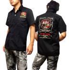 シャツ 半袖 ブラック メンズ 刺繍 ロカビリーシャツ ボーリングシャツ ダーツシャツ バイカー