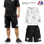ショートパンツ メンズ ニューヨークヤンキース マジェスティック Majestic ストライプ スポーツ ダンス メジャーリーグ 衣装 短パン ハーフパンツ