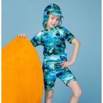 水着 男の子 半袖 トップス ショートパンツ 2点セット 海底の世界柄 セパレート 水着 子供 スクール プール ビーチ 夏 海水浴 練習用 かわいい キッズ