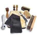 SunBroy 靴磨きセット 馬毛ブラシ 豚毛ブラシ シューケア 革靴 手入れ セットブーツ レザーケア (靴磨きセット)
