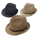 ストローハット 麦わら帽子 メンズ レディース 通常サイズ〜60cm対応 コンチョボタンミックスペーパー中折れハット
