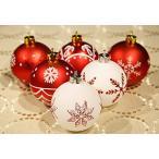 クリスマスツリー オーナメント 24個 レッド ホワイト 6cm 装飾 飾り クリスマス 北欧 デコレーション