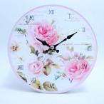 ローズ柄ガラスの掛時計置き時計かわいいおしゃれこだわりの逸品プレゼントに薔薇雑貨002