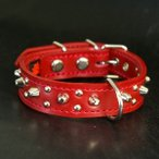 2cm幅の小型犬用スタッズ革首輪:Small Type G5-003(8mm+4mm丸鋲) *色は十色以上から、サイズは1cm単位でオーダー