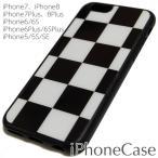 市松模様 アイフォンケース iphone 6S XS 7 8 5s SE plus 白 黒 チェック柄 B amp W ブラック ホワイト