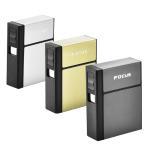 FOCUS アルミ タバコケース 電子ライター 2in1 防水 20本収納 タバコ一箱収納可 シガレットケース USB充電式 小型 携帯 プレゼント